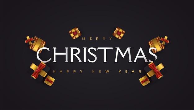 Joyeux noël et bonne année bannière ou affiche. carte de voeux de noël élégante en noir et or avec coffret cadeau de luxe