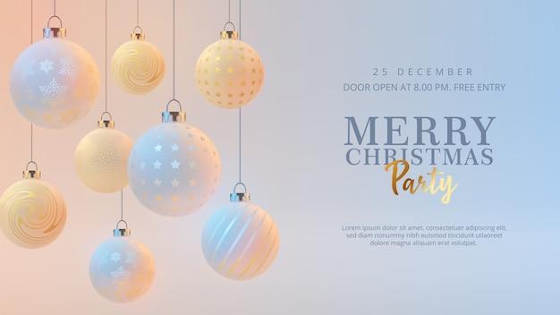 Joyeux noël et bonne année bannière avec des boules de noël réalistes
