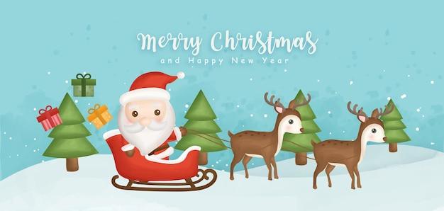 Joyeux noël et bonne année bannière avec mignon père noël et rennes.