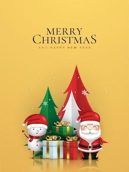 Joyeux noël et bonne année bannière de noël du père noël et du bonhomme de neige