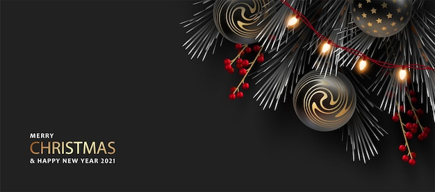 Joyeux noël et bonne année bannière réaliste avec des décorations de noël