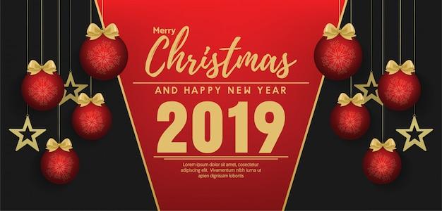 Joyeux noël et bonne année bannière vecteur