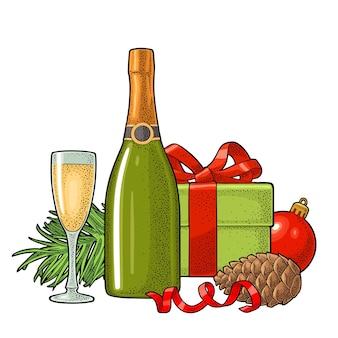 Joyeux noël et bonne année boîte à champagne branche de sapin et boule de jouet gravure de vecteur