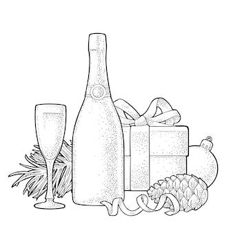 Joyeux noël et bonne année boîte à champagne branche de sapin et boule de jouet vector illustration