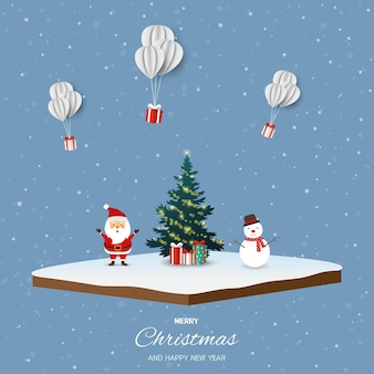 Joyeux noël et bonne année avec bonhomme de neige du père noël et coffrets cadeaux sur fond isométrique