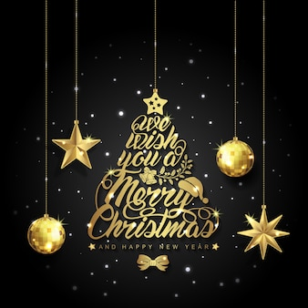 Joyeux noël et bonne année boules scintillantes