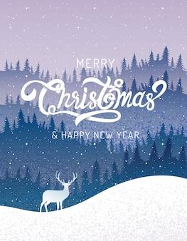 Joyeux noël, bonne année, calligraphie, paysage d'hiver