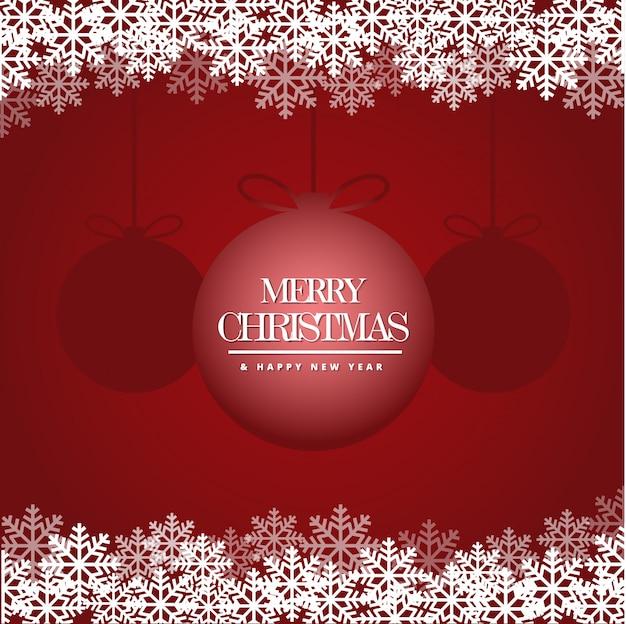 Joyeux noël et bonne année carte avec de beaux flocons de neige