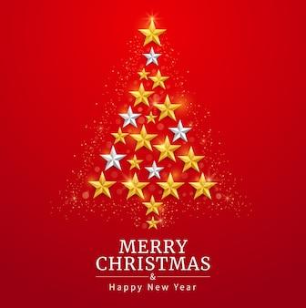 Joyeux noël et bonne année carte avec fond d'étoile d'or et d'argent. des illustrations