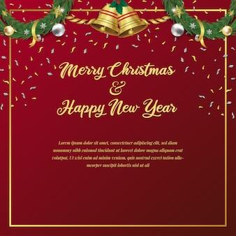 Joyeux noël et bonne année carte d'invitation et de fête