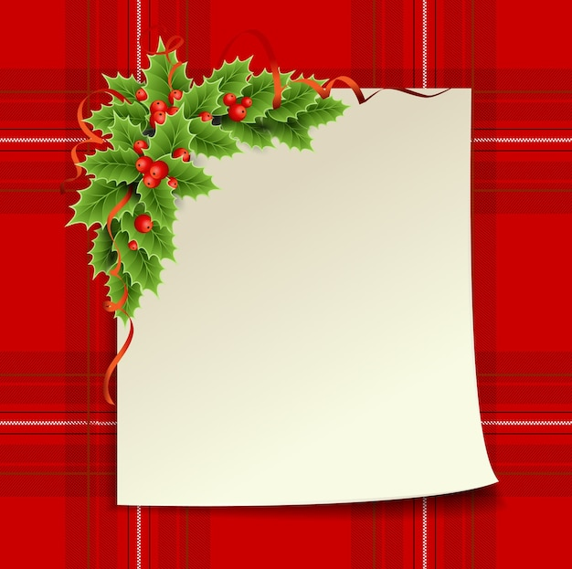 Joyeux noel et bonne année. carte de noël avec arbre de noël et cage écossaise