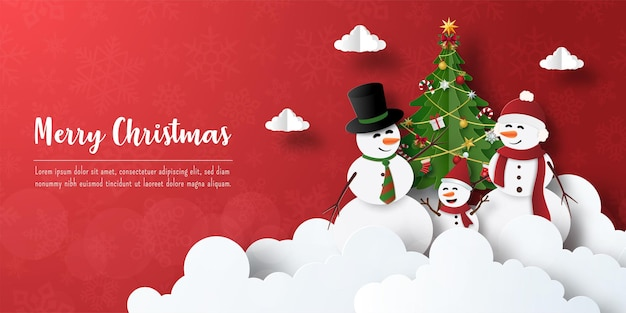 Joyeux noël et bonne année, carte postale de bannière de noël de bonhomme de neige avec l'arbre de noël