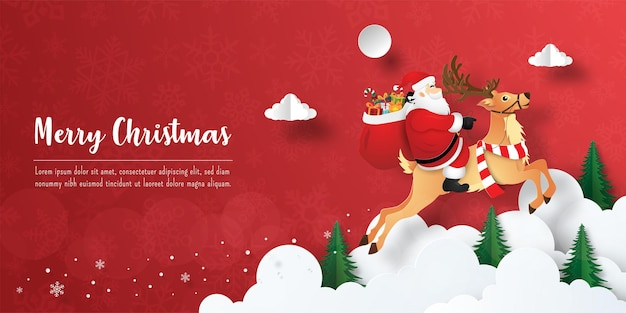 Joyeux noël et bonne année, carte postale de bannière de noël du père noël et des rennes dans le ciel