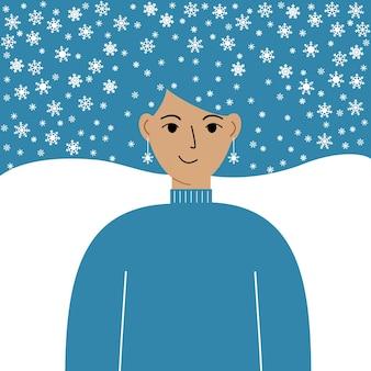 Joyeux noel et bonne année. carte postale avec une belle femme dans les cheveux de laquelle il y a des flocons de neige. affiche, fond, carte postale, invitation. télévision illustration vectorielle