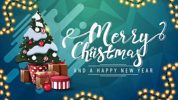 Joyeux noël et bonne année, carte postale verte avec guirlande