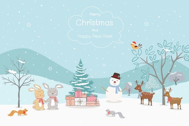 Joyeux noël et bonne année carte de voeux avec des animaux heureux sur fond d'hiver