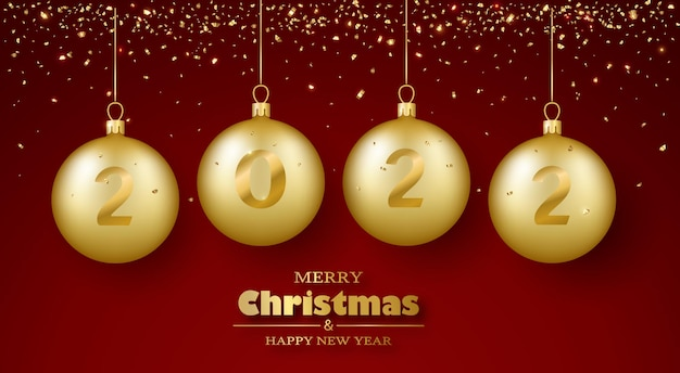 Joyeux noël et bonne année carte de voeux boules et confettis en verre doré réalistes 3d