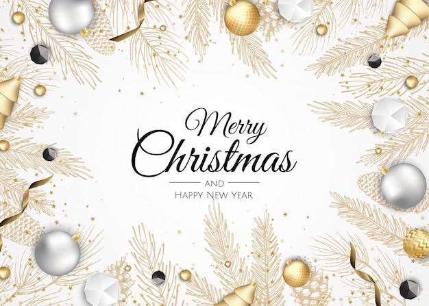 Joyeux noël et bonne année carte de voeux branches métalliques