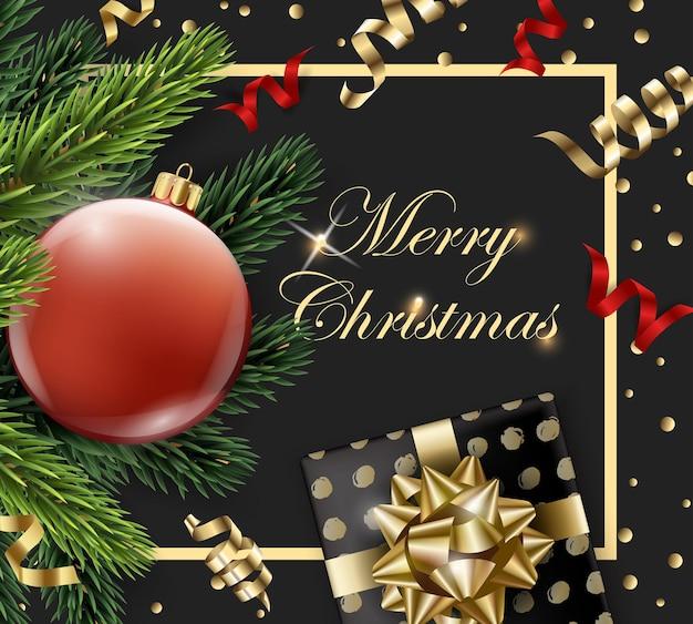 Joyeux noël et bonne année carte de voeux avec des branches de sapin et boule rouge avec des décorations