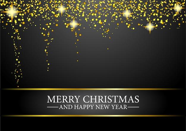 Joyeux noël et bonne année carte de voeux avec des confettis d'or de paillettes.