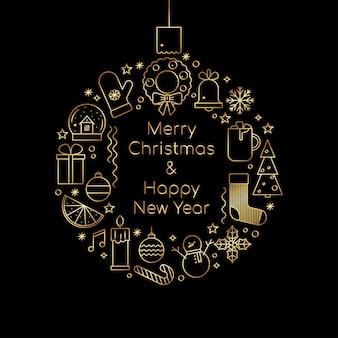 Joyeux noël et bonne année carte de voeux dorée de luxe dans le style de contour