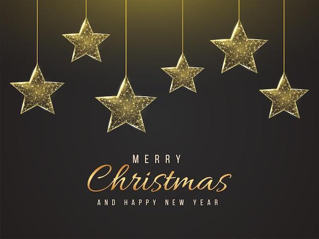 Joyeux noël et bonne année carte de voeux low poly. illustration de maillage filaire polygonal avec des étoiles de noël suspendues. illustration vectorielle abstraite sur fond sombre.