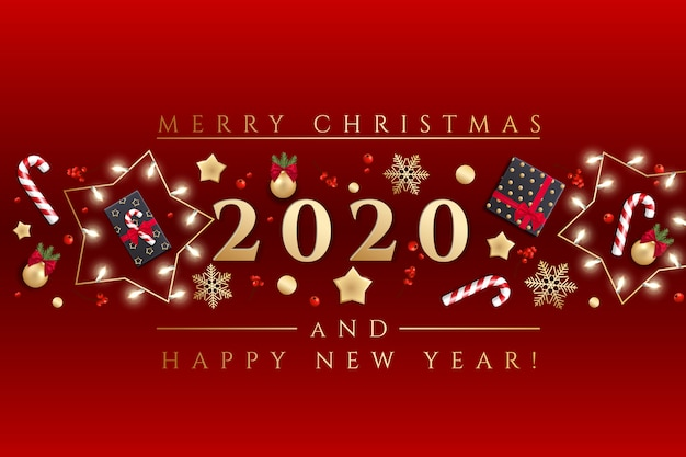 Joyeux noël et bonne année carte de voeux avec des lumières de noël