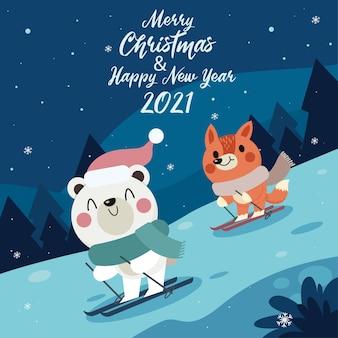 Joyeux Noël Et Bonne Année Carte De Voeux Avec Mignon Animal D'hiver Vecteur Premium