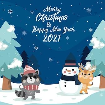 Joyeux noël et bonne année carte de voeux avec mignon animal d'hiver