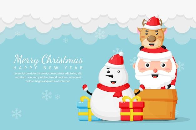Joyeux noël et bonne année carte de voeux avec mignon bonhomme de neige et père noël