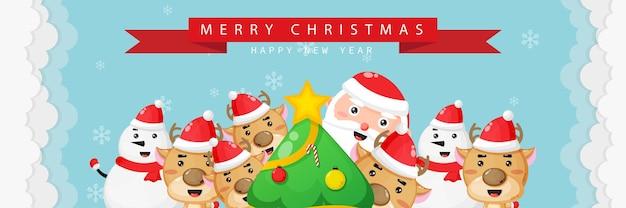 Joyeux noël et bonne année carte de voeux avec mignon bonhomme de neige et renne du père noël