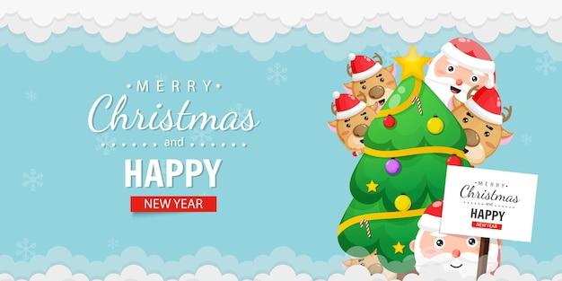 Joyeux noël et bonne année carte de voeux avec mignon père noël et cerf