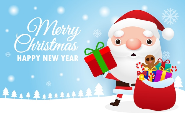 Joyeux noël et bonne année carte de voeux avec mignon père noël