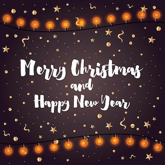 Joyeux noel et bonne année. carte de voeux avec neon garland et confettis. illustration vectorielle.