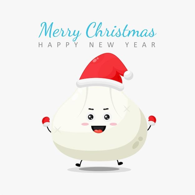 Joyeux noël et bonne année carte de voeux avec personnage de boulette
