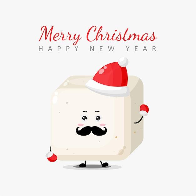 Joyeux noël et bonne année carte de voeux avec personnage de tofu