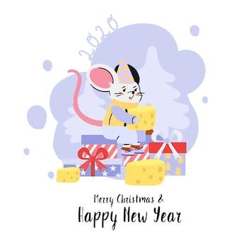 Joyeux noël et bonne année carte de voeux avec un rat.