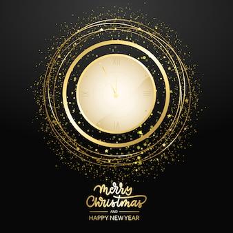 Joyeux noël et bonne année compte à rebours. horloge antique de vacances avec des confettis dorés, carte de voeux