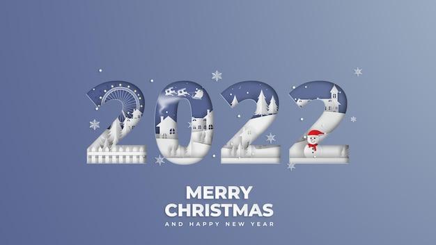 Joyeux noël et bonne année concept avec bonhomme de neige et village
