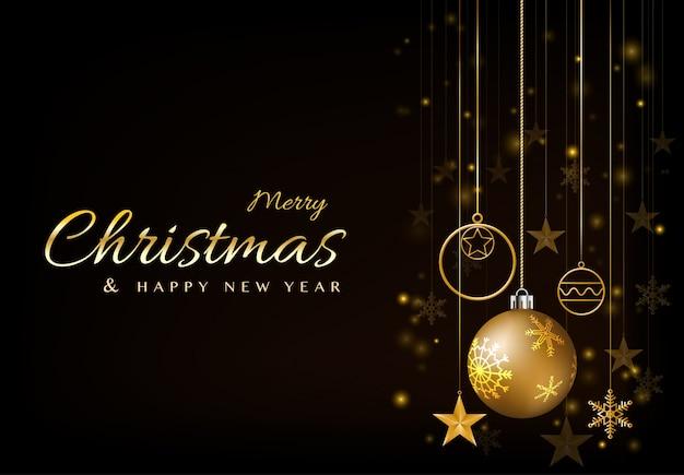 Joyeux noël et bonne année conception de carte de voeux avec ballon brillant scintillant doré