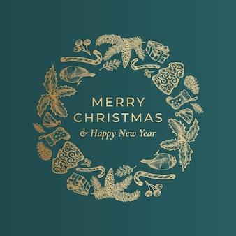 Joyeux noël et bonne année couronne de croquis dessinés à la main, bannière ou modèle de carte.