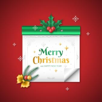 Joyeux noël et bonne année dans le style de calendrier avec des décorations