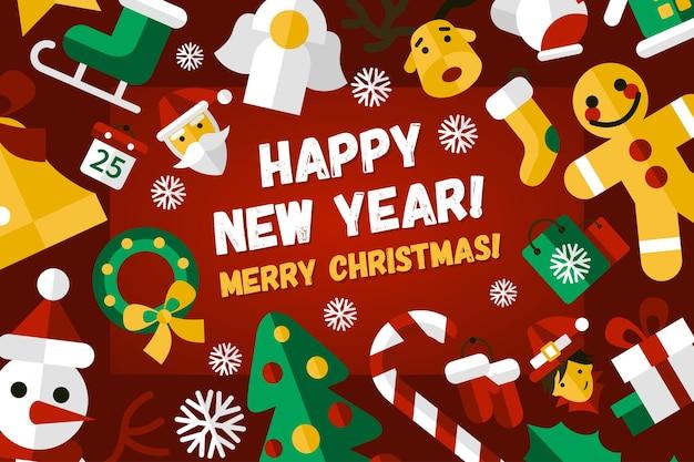 Joyeux noël et bonne année design plat illustration moderne
