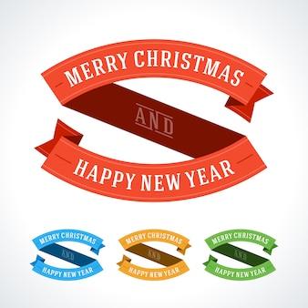 Joyeux noël et bonne année ensemble de rubans de lettrage