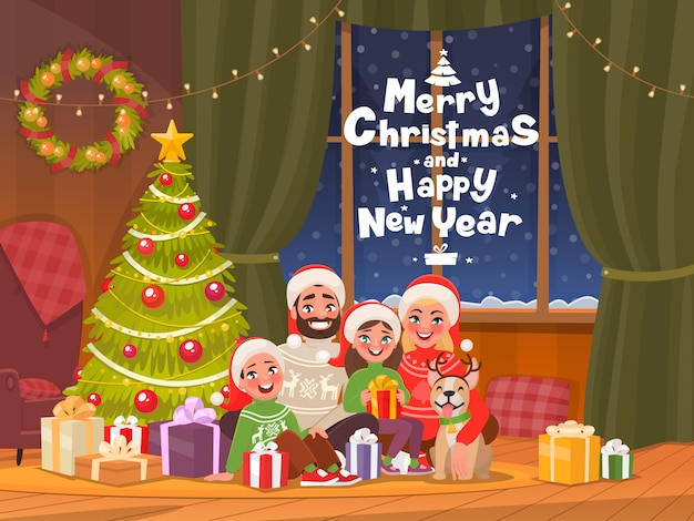 Joyeux noel et bonne année. famille à l'arbre de noël habillé célèbre la fête