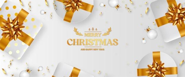 Joyeux noël et bonne année fond blanc avec cadeau 3d