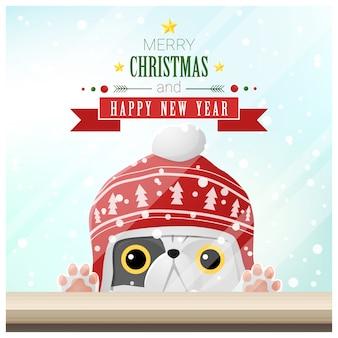 Joyeux noël et bonne année fond avec chat