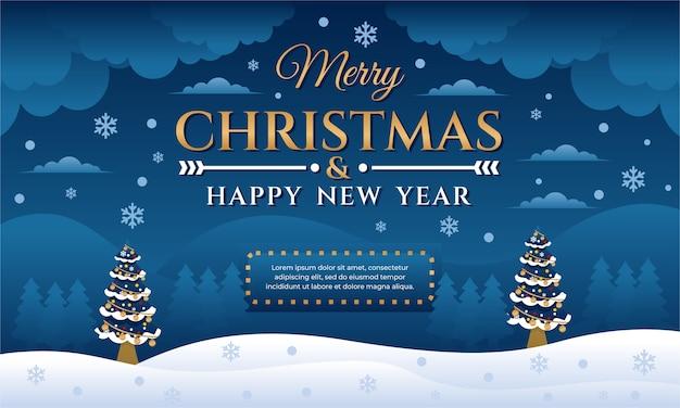 Joyeux noël et bonne année fond, modèle de conception de bannière avec arbre de noël et paysage naturel pendant la nuit