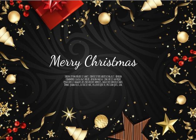 Joyeux noël et bonne année, fond de noël avec une boîte cadeau, conception de flocons de neige et de boules,