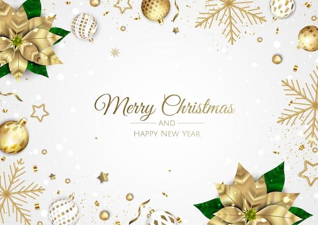 Joyeux noel et bonne année. fond de noël avec la conception de flocons de neige et de boules.